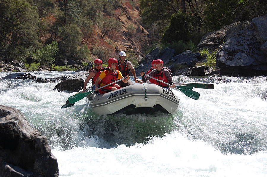 A raft gets some air on the Tuolumne River