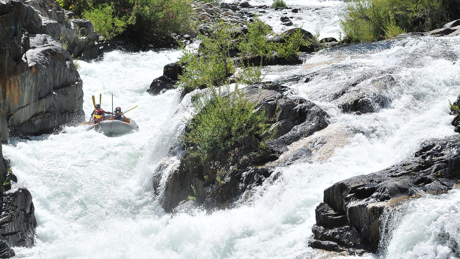 A paddle raft in the middle of Tunnel Chute rapid on the Middle Fork of the American River with ARTA River Trips